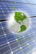 ソーラーパネルと葉っぱの世界地図
