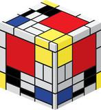 Mondrian cube poster