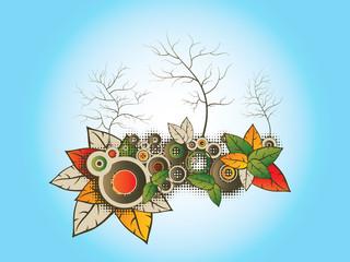 tree illustration with flora graphic