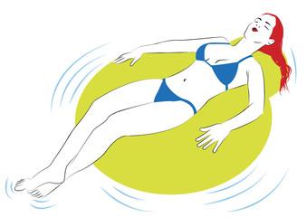 Mujer pelirroja en bikini flotando en piscina