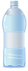 Bottle of water with empty label, vector, no transparensy