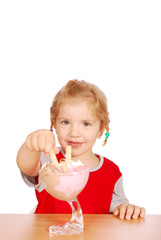 little girl with ice cream cup