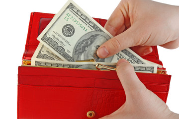 Dollar and wallet in hands