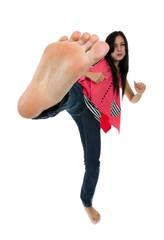 woman kicking