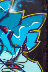 Graffiti with black and blue colors