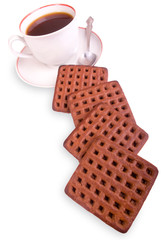 Isolated coffee cup and cookies