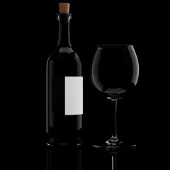 3d wine bottle and glass, on black