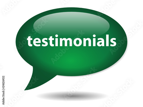 TESTIMONIALS Speech Bubble Icon (web button kudos business PR)