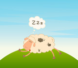 Vector cartoon sheep sleeps on a grass