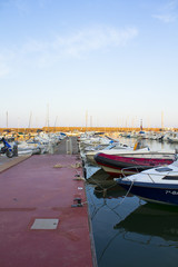 Boats moored in harbour near Denia, Spain