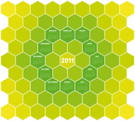 Green Hexagons Calendar 2011
