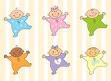Fototapety Cartoon multi racial babies