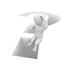 Sitting man and question mark. 3d rendered illustration.