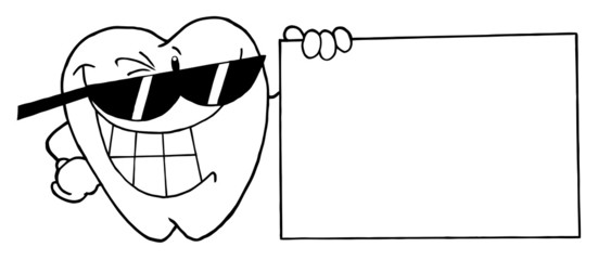 Outlined Tooth Character Presenting A Blank Sign