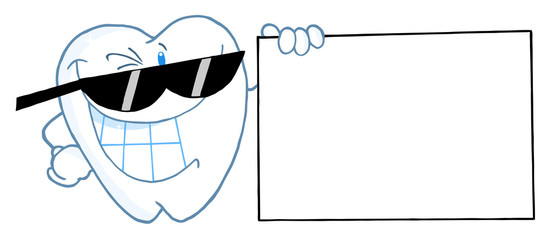 Smiling Tooth Character Presenting A Blank Sign