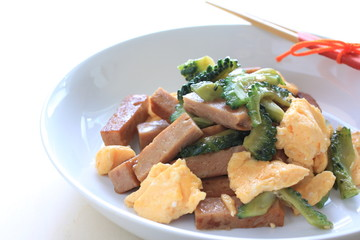 luncheon meat and bitter melon stir fry for asian food image