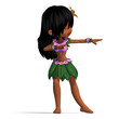 very cute hawaiin cartoon girl is dancing for you. 3D rendering