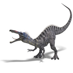 Dinosaur Suchominus. 3D rendering with clipping path and shadow