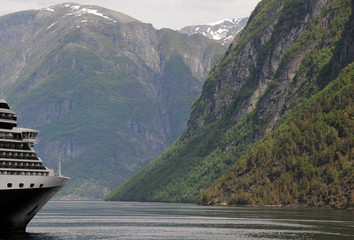 Cruise ship moored on Geirangerfjord