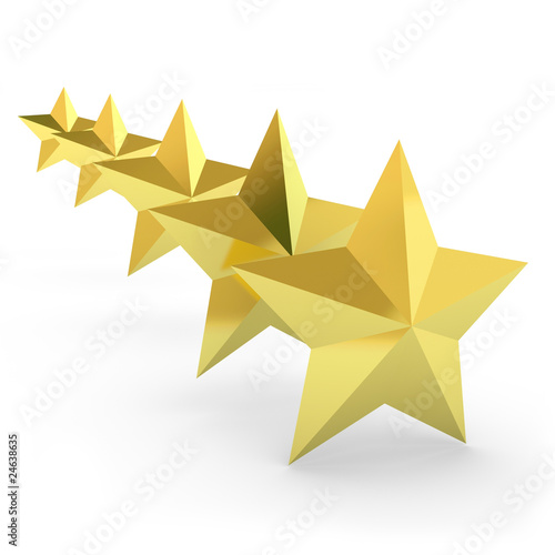 gold stars background. Five gold stars on white