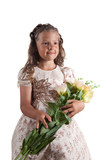 Cute little girl with pigtail hairstyle holding flowers poster