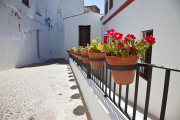 Macetas en la calle en Arcos de la Frontera, Cadiz