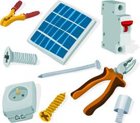 Set of a building tools and materials B