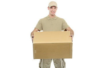 A delivery boy carrying a box isolated on white background