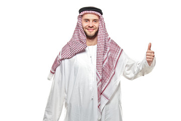 An arab person with a thumbs up isolated on white
