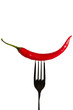 eine rote peperoni auf einer gabel