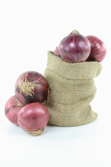 Red onion in burlap bag