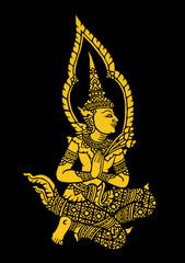 buddhist golden wall art