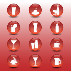 restaurant red icon collection vector set