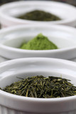 Tea collection - bancha and sencha green tea and matcha powder poster