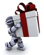 robot carrying christmas gift box with bow