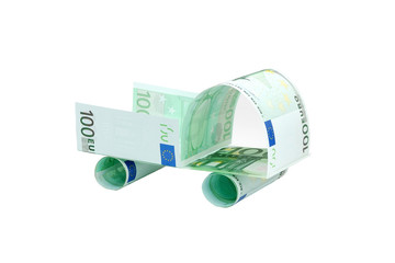 Pickup truck made of euro banknotes