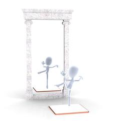 Figur vor einem Spiegel