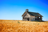 Old School House in wheat field