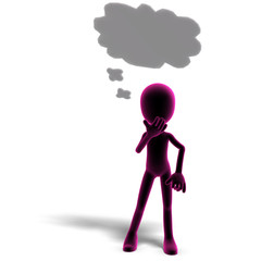 3d male icon toon character is thinking something. 3D rendering