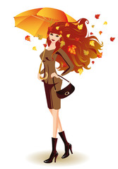 Autumn fashion woman with umbrella, vector