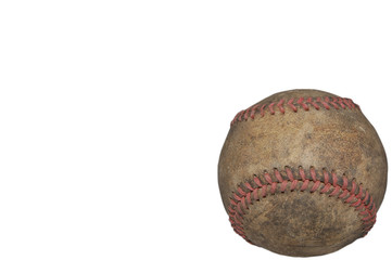 Old Worn Out Baseball Isolated on White