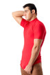 Attractive Man in Just a Red Shirt