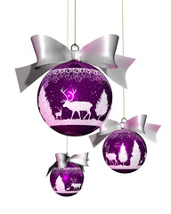 christmas bauble decoration violet with reindeer