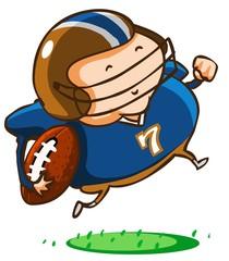 Child practice American Football.