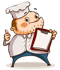 Chef with menu in restaurant.
