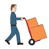 Cartoon delivery guy with hand truck