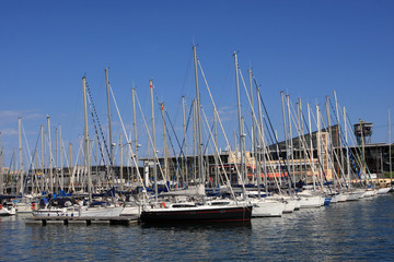 Yachts in port of Barcelona