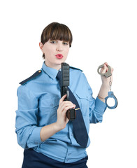 woman in uniform with gun and manacles