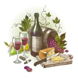 Vector vintage still life with wine