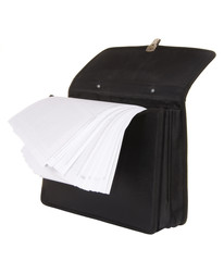 black briefcase with papers